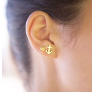 🆕14K Gold Dipped Anchor Stud Earrings